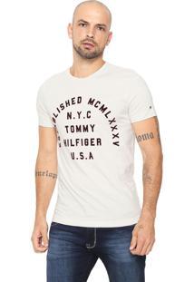 Camiseta Tommy Hilfiger Estampada Bege