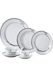 Aparelho De Jantar De Porcelana Super White Thoth Cinza Wolff – 42 Peças