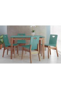 Mesa Com 4 Cadeiras De Jantar Tucupi 120Cm- Acabamento Stain Nozes E Azul