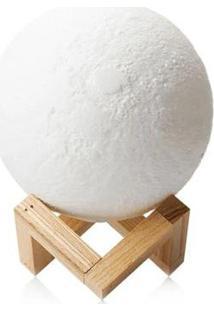 Luminária Umidificador Lua Cheia 3D Abajur Usb Touch 3 Cores - Unissex-Branco