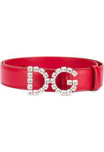Dolce & Gabbana Cinto Dg De Couro - Rosa