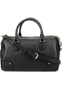 Bolsa Couro Carmim Handbag Alça Transversal Samara Feminina - Feminino-Preto