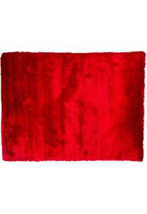 Tapete Shaggy Retangular Poliéster (150X200) Vermelho
