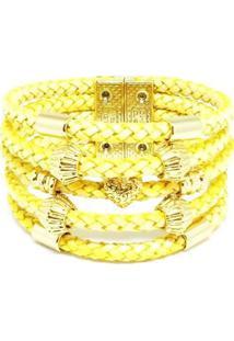 Pulseira Bracelete Em Couro Alice Monteiro Gold Feminina - Feminino-Dourado