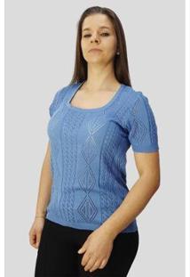 Blusa Rendada Feminina - Feminino-Azul