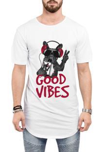 Camiseta Criativa Urbana Long Line Oversized Engraçadas Good Vibes Bull Dog Iphone - Masculino-Branco