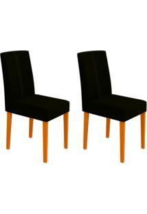 Conjunto Com 2 Cadeiras Heloíse Ii Ipê E Preto