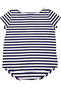 Blusa Via Costeira Em Viscose Listrada Feminina - Feminino-Branco+Azul
