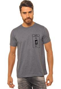 Camiseta Manga Curta Joss Zueira Masculina - Masculino-Chumbo