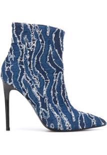 Just Cavalli Bota Jeans Com Bico Fino E Salto 120Mm - Azul