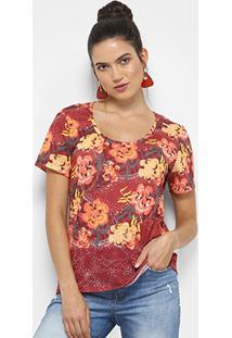 Camiseta Cantão Local Chita Feminina - Feminino-Vinho+Amarelo