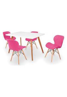 Conjunto Mesa De Jantar Gih 120X80Cm Branca Com 4 Cadeiras Slim - Rosa