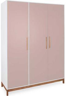 Roupeiro 3 Portas Guarda-Roupa Rosa Design Moderno Mdf E Madeira Maciça Moore - 154,6X53X206,5 Cm