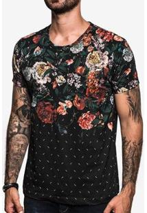 Camiseta Hermoso Compadre Falling Flowers Masculina - Masculino-Preto