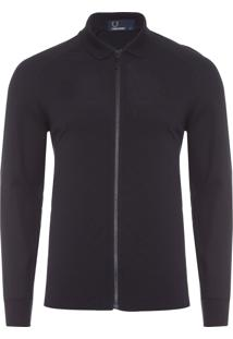 Blusa Masculina Raglan Zip Through - Preto