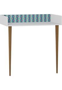 Aparador Escrivaninha Pés Palito Retrô 1003 Branco/Azul - Be Mobiliári