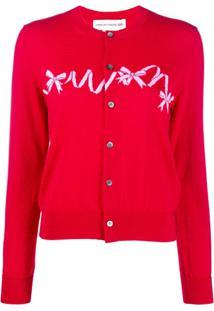 Comme Des Garçons Girl Bow Embroidered Cardigan - Vermelho