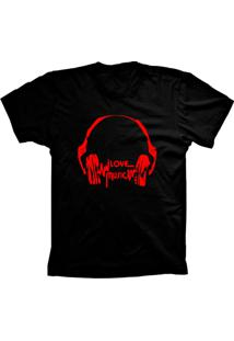 Camiseta Baby Look Lu Geek Love Music Preto