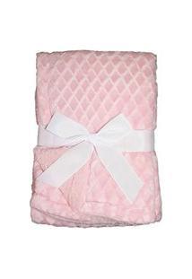 Manta Soft Bebe Cobertor Microfibra Com Sherpa Relevo Rosa