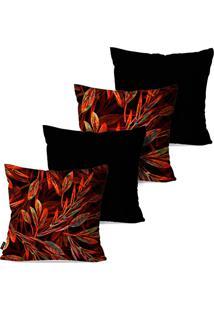 Kit Com 4 Capas Para Almofadas Pump Up Decorativas Floral Avermelhado 45X45Cm