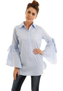 Camisa Aha Listrada Manga Flare Azul
