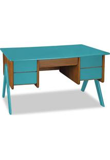 Escrivaninha Vintage 4 Gv Nogal E Azul