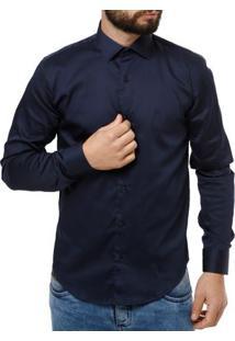 Camisa Manga Longa Masculino Elétron Azul Marinho