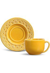 Xícara De Chá Cestino Cerâmica 6 Peças Mostarda Porto Brasil