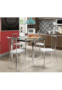 Mesa 326 Com Vidro Incolor Cromada Com 4 Cadeiras 154 Cromada/Branca Carraro