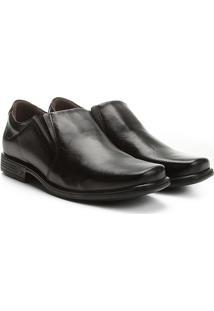 Sapato Social Couro Pegada Bico Quadrado - Masculino-Preto