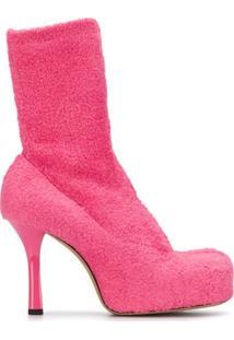 Bottega Veneta Ankle Boot Texturizada Com Salto Alto - Rosa