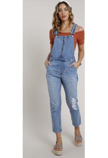 Macacão Jeans Feminino Com Rasgos E Zíper Azul Médio