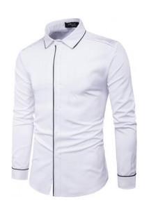 Camisa Masculina Slim Com Detalhes Nos Ombros Manga Longa - Branco
