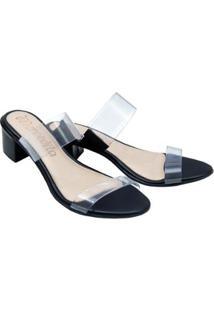 Tamanco Mercedita Shoes Cristal Salto Baixo Grosso Dia A Dia Festa - Feminino-Preto