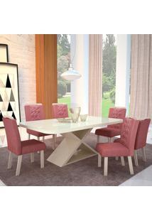 Mesa De Jantar Stella 1,80M Com Vidro Offwhite + 6 Cadeiras Stella Tecido 2035 - Fendy