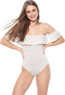 Body Hang Loose Ombro A Ombro Off-White/Dourado