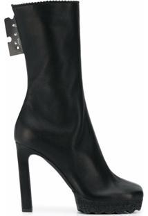 Off-White Ankle Boot Com Patch De Logo - Preto