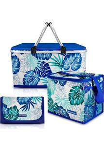 Kit Piquenique Cesto Térmico + Bolsa Térmica + Tapete Impermeável Azul Jacki Design
