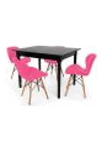 Conjunto Mesa De Jantar Robust 110X90 Preta Com 4 Cadeiras Eames Eiffel Slim - Rosa