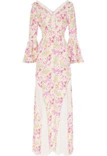 Bytimo Vestido Longo Floral Com Recorte De Renda - Estampado