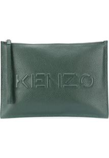 Kenzo Zip-Up Leather Clutch Bag - Verde