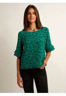 Blusa Le Lis Blanc Nathalia Ii Olho Seda Estampado Feminina (Estampa Marina Verde, 48)