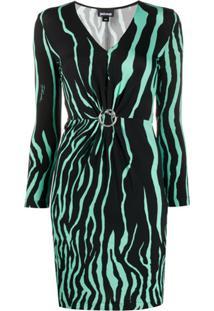 Just Cavalli Vestido Slim Com Estampa De Zebra - Preto