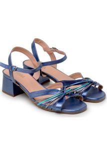 Sandália Feminina Metalizada Salto Grosso Baixo Dia A Dia - Feminino-Azul