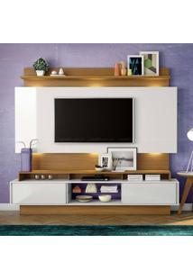 Estante Home Theater Para Tv Até 55 Polegadas 2 Portas De Correr 100% Mdf Tb113 Com Led Off White/Freijó - Dalla Costa