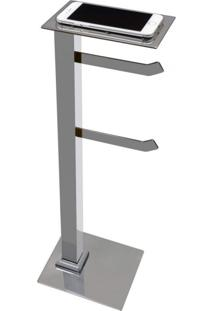 Papeleira De Chão Inox Com Suporte Para Celular Premium Pr4079 Ducon Metais Cromado