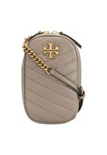 Tory Burch Kira Leather Crossbody Bag - Cinza