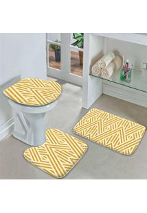 Jogo Tapetes Para Banheiro Abstract Yellow