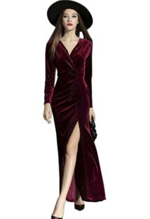 Vestido Longo De Veludo C/Fenda