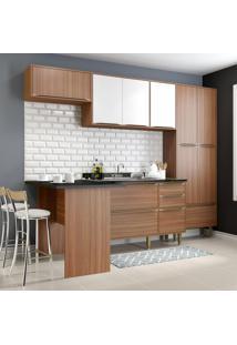 Cozinha Compacta 11 Portas 3 Gavetas 5454 Nogueira/Branco - Multimóveis